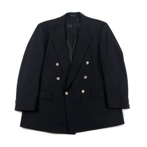 Burberry Vintage Navy Wool Double Breasted Blazer